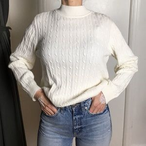 90s White Mockneck Knit Sweater Top
